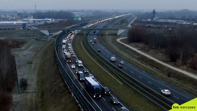 Zderzenie pięciu samochodów na A2. Ogromny korek w stronę Warszawy