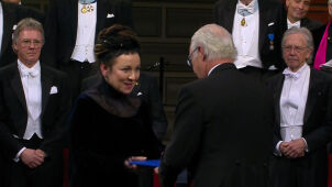 Literature Nobel winner Olga Tokarczuk collects her award from Sweden's King