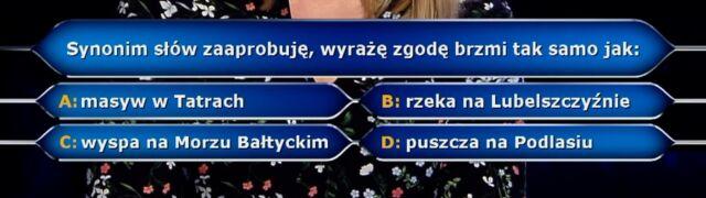 """Pytanie z """"Milionerów""""  o synonim. Za 125 tysięcy złotych"""