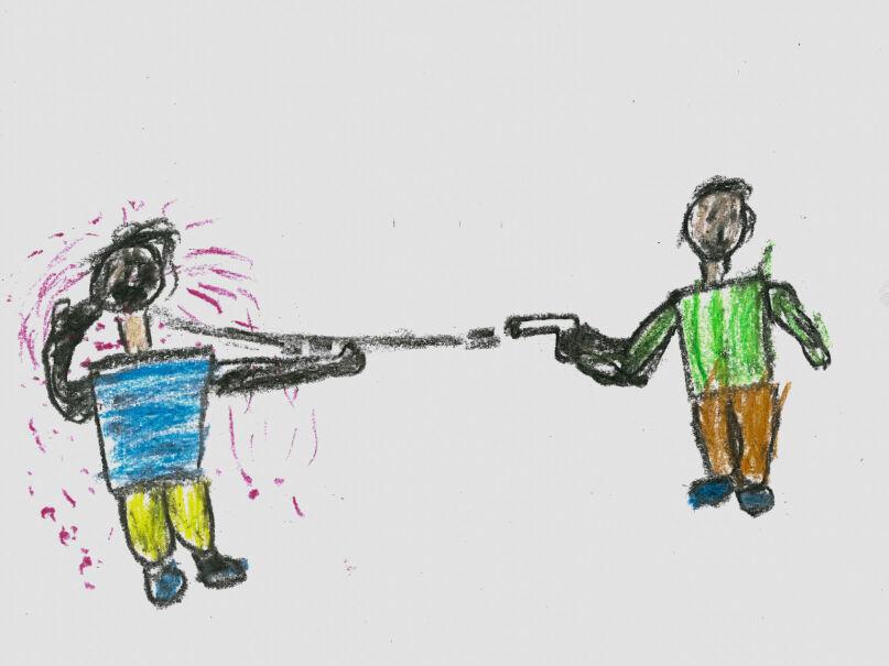 Rysunek 11-letniego Khalila, Palestyńczyka z Syrii