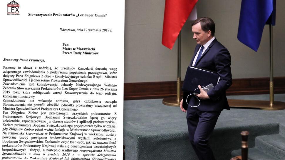 Prokuratorzy składają zawiadomienie w sprawie Ziobry. Do premiera, nie do prokuratury