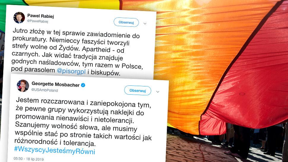 """""""Strefa wolna od LGBT"""". Mosbacher """"zaniepokojona"""", Rabiej chce zawiadomić prokuraturę"""