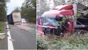 Tir wyprzedzał tira, zderzył się z inną ciężarówką. Trzech kierowców rannych