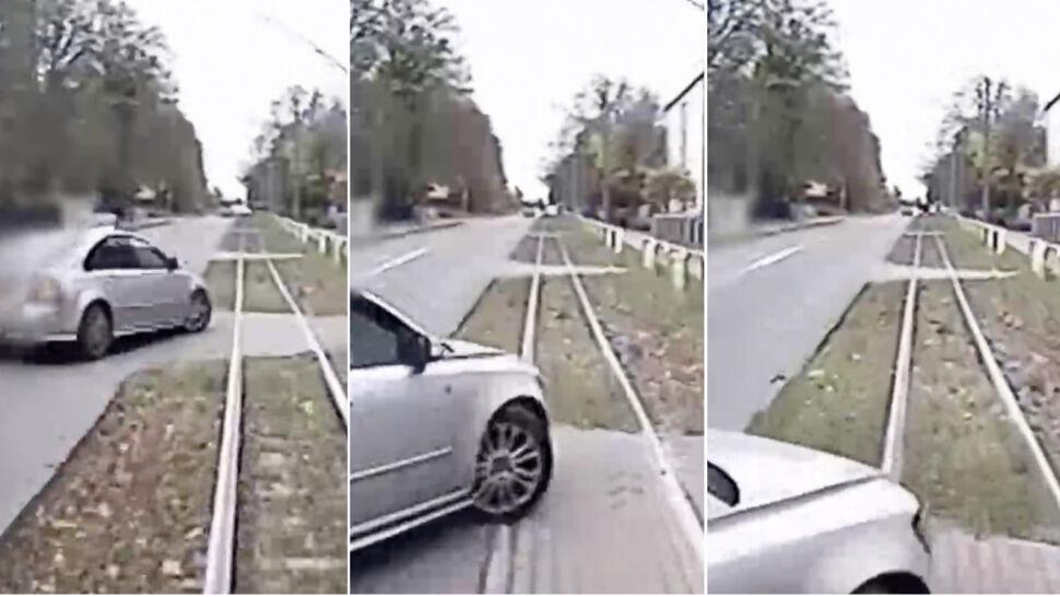 Wjechał na tory, zderzył się z tramwajem i odjechał. Policja publikuje nagranie i szuka świadków