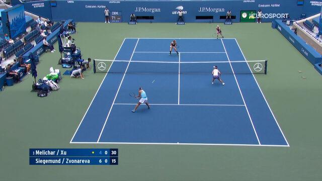 Skrót meczu Siegemund/Zwonariowa - Melichar/Xu w finale gry podwójnej kobiet w US Open