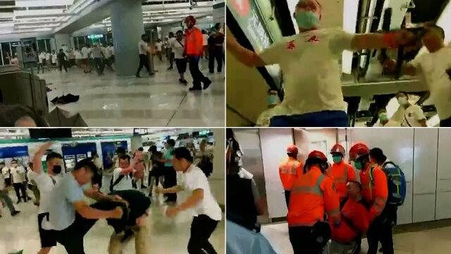 Dziesiątki mężczyzn biły podróżnych na stacji metra. Jedna ofiara w stanie krytycznym