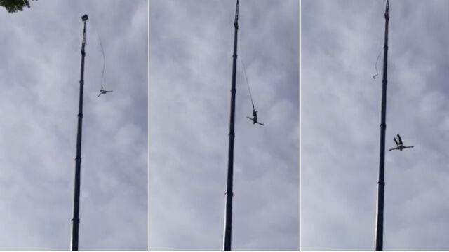 """""""Spadł na poduszkę powietrzną, odbił się i zsunął na ziemię"""". Wypadek podczas skoku na bungee"""
