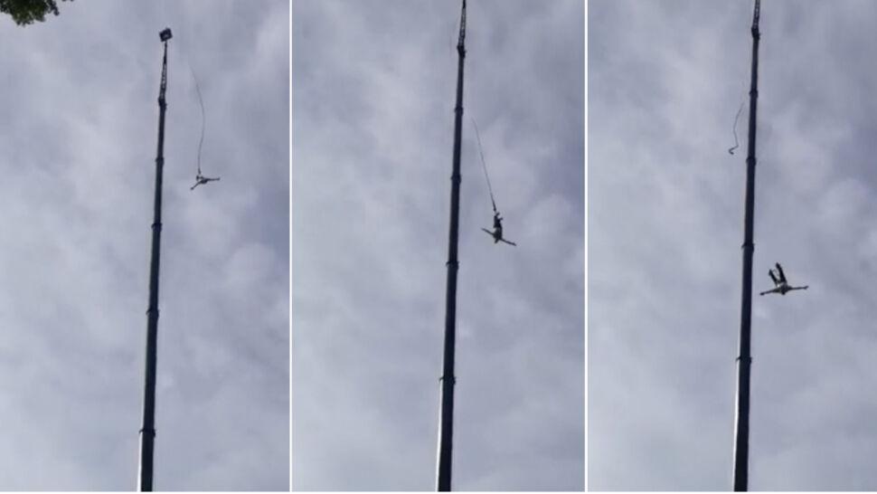 Skakał na bungee, spadł na ziemię, wyszedł ze szpitala