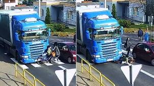 Piesze pod kołami ciężarówki, kierowca ukarany.