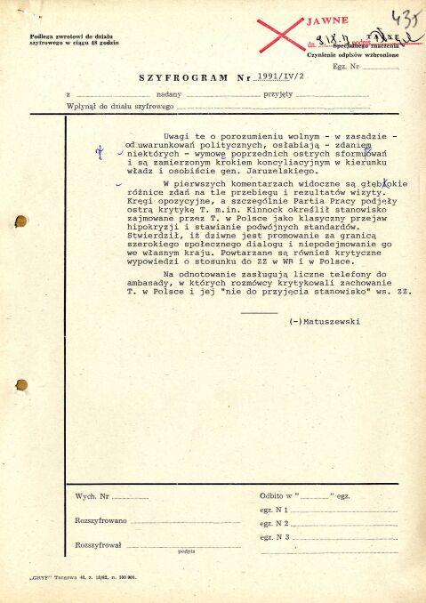 Szyfrogram z Ambasady PRL w Londynie z oceną brytyjskich reakcji na wizytę, 5 listopada 1988 r., strona 2 (AMSZ).