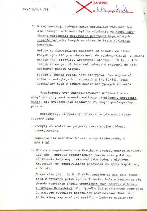 Notatka informacyjna dotycząca wykorzystania wizyty w Polsce Premier Wielkiej Brytanii M. Thatcher w sprawie programu długofalowego rozwiązania polskiego zadłużenia, 8 października 1988 r., str. 3