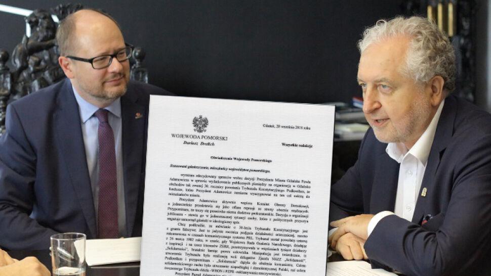Wojewoda krytykuje prezydenta za jubileusz TK. Adamowicz: to kiepski żart