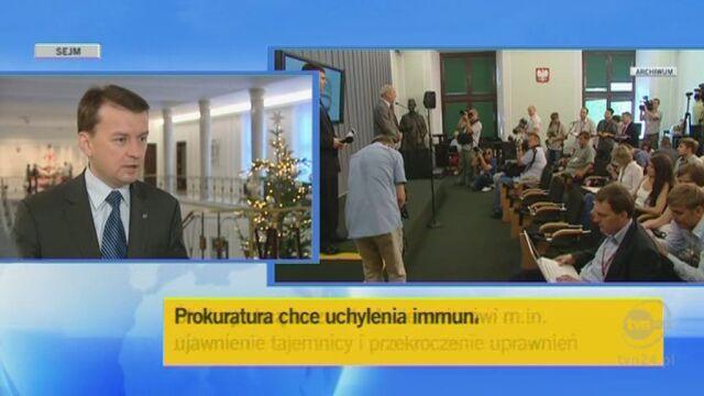 Mariusz Błaszczak o zarzutach prokuratury (TVN24)