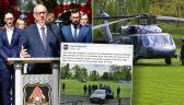 Brudziński wylądował helikopterem na boisku