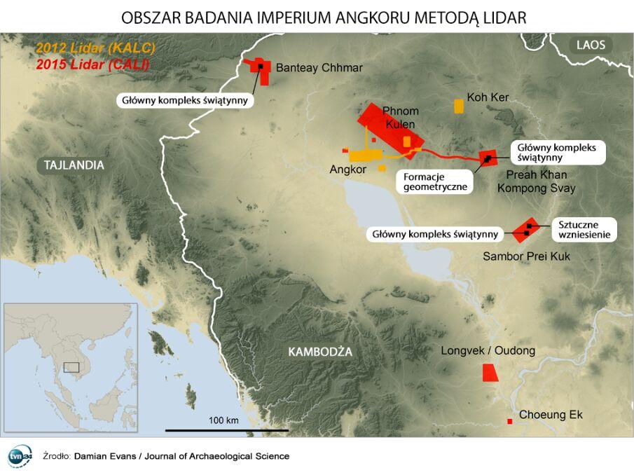 Obszar dawnego Imperium Angkoru zbadany metodą Lidar