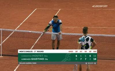 Skrót meczu Moutet - Giustino w 1. rundzie Roland Garros
