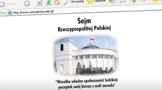 """Strona internetowa Sejmu jak """"wirtualnyburdel"""""""