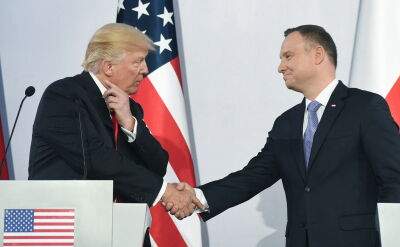President Donald Trump at the joint news conference with President Andrzej Duda