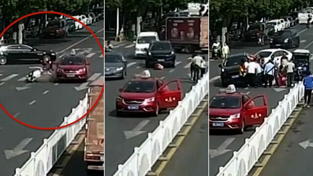 Wpadła pod koła taksówki,  potem przejechał ją SUV