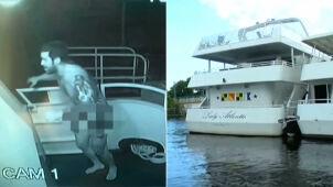 Nago okradł łódź.