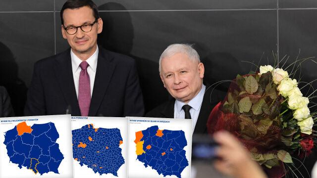 Wyborcze mapy kraju. Polska  w jednym kolorze tylko z pozoru