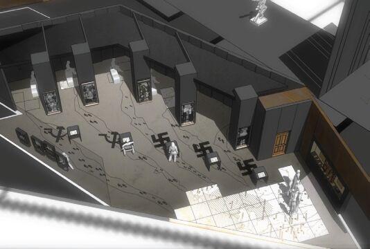 Projekt scenograficzny wystawy przygotowała belgijska pracowania Tempora