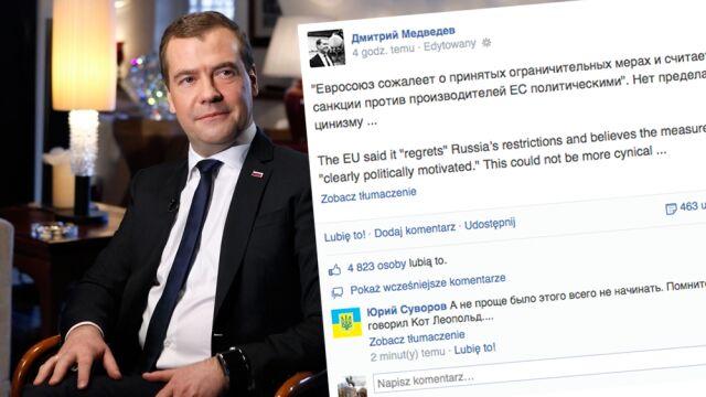 """""""Cynizm nie zna granic"""". Miedwiediew odpowiada Unii Europejskiej"""