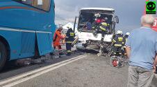 Wypadek autokarów w miejscowości Rusiec