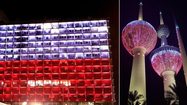 Biało-czerwone iluminacje w Kuwejcie i Izraelu.
