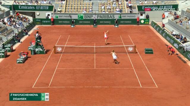 Niesamowita wymiana wygrana przez Zidansek w 1. secie półfinału French Open