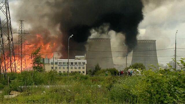 """Słup ognia """"widoczny  z wielu punktów Moskwy"""""""