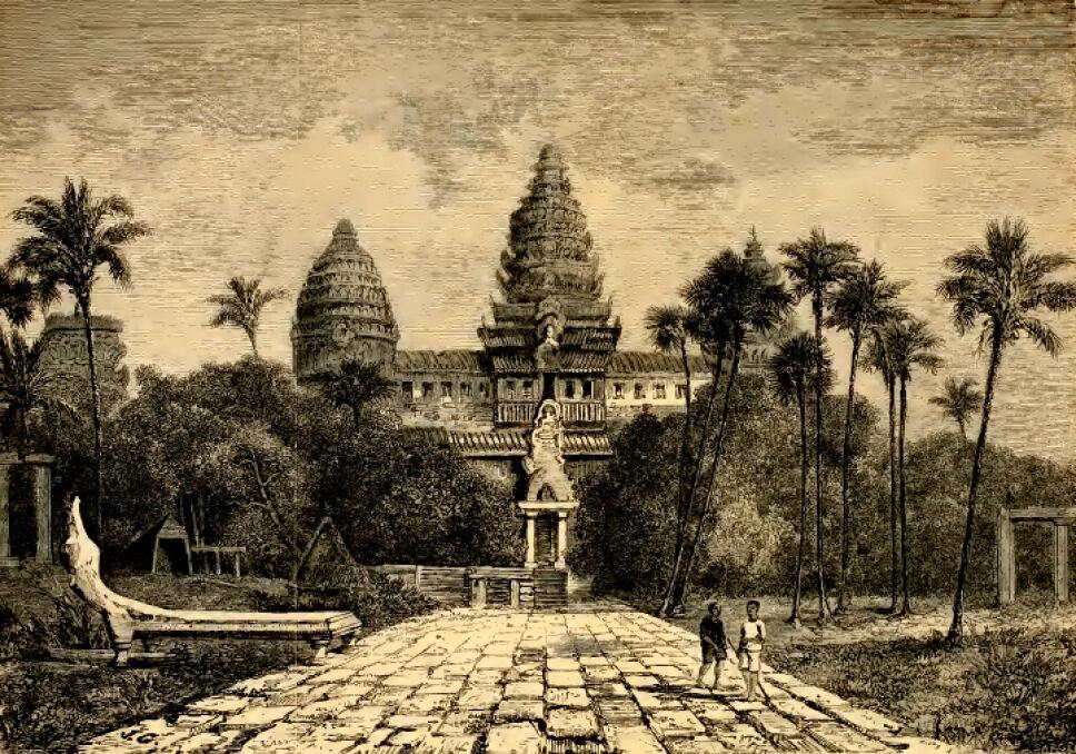 Szkic Angkor Wat, najsłynniejszej świątyni w całym kompleksie