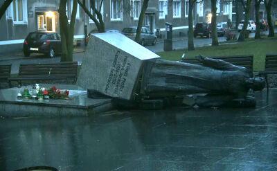 W nocy trzej mężczyźni obalili pomnik ks. Jankowskiego