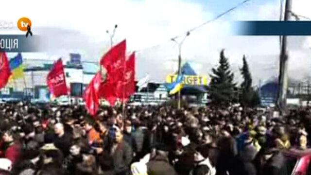 Protest w Charkowie w odpowiedzi na ten z Kijowa