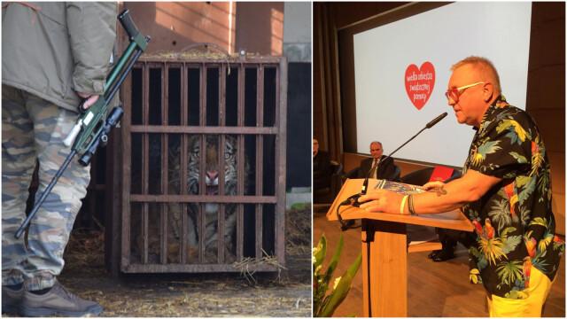 Jurek Owsiak przekazuje nagrodę na rzecz tygrysów.