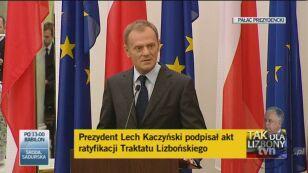 Premier Donlad Tusk: Traktat wzmacnia Wspólnotę, która daje bezpieczeństwo