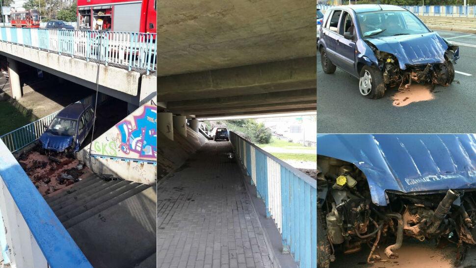 Zasłabł za kierownicą i zjechał schodami pod wiadukt