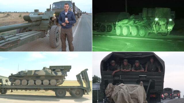 Artyleria, wozy opancerzone i broń przeciwlotnicza. Ruchy Rosjan przed kamerą TVN24