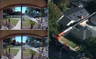 Jedna osoba ranna, trzy domy uszkodzone. Dźwig przewrócił się podczas prac remontowych