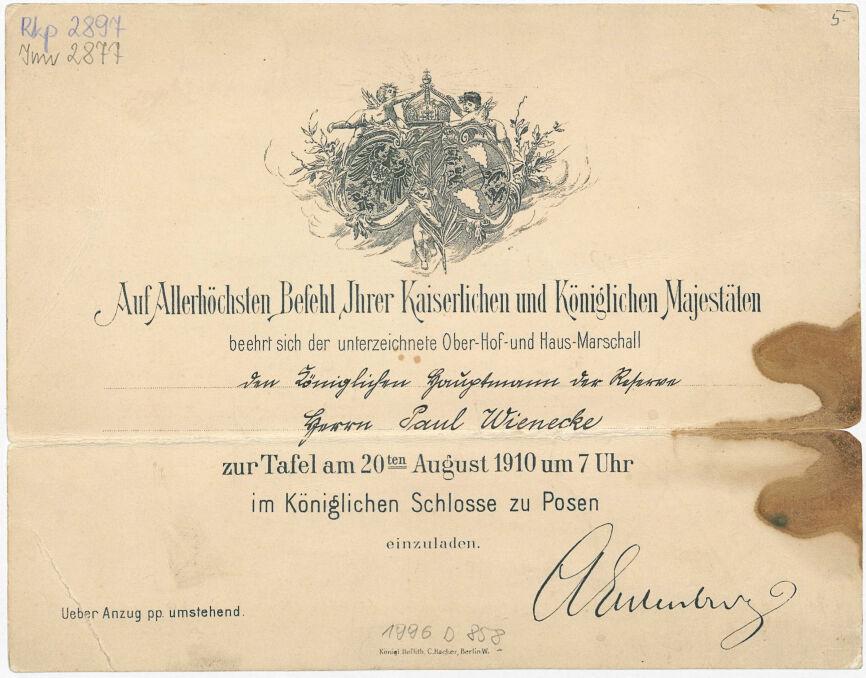Magazyn przybylski | Zaproszenie na inaugurację Zamku w 1910 r.