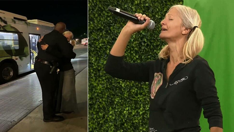 Nagrał jej występ, usłyszał ją świat. Bezdomna śpiewaczka padła policjantowi w ramiona