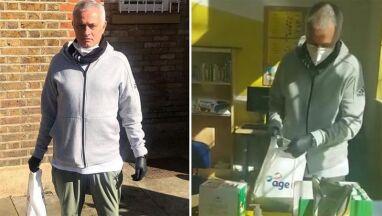 Czarne rękawiczki i maseczka. Mourinho pomaga starszym ludziom