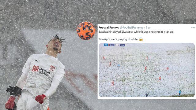 """""""Ilu piłkarzy jesteś w stanie dostrzec?"""". Kuriozalne obrazki z meczu na śniegu"""