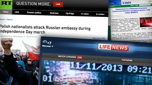 """""""Atak na ambasadę"""", """"ogoleni na łyso demonstranci"""". Rosyjskie media o wydarzeniach w Warszawie"""
