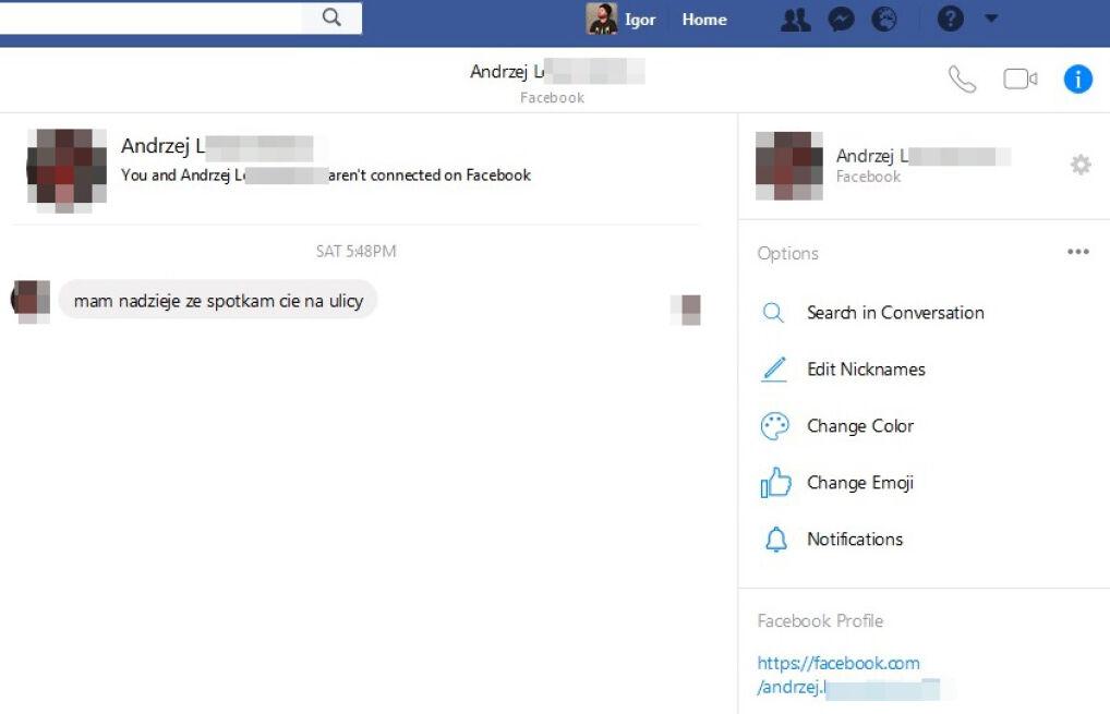 Wiadmość prywatna z mediów społecznościowych