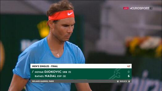 Nadal wygrał 1. seta w starciu z Djokoviciem w finale Roland Garros