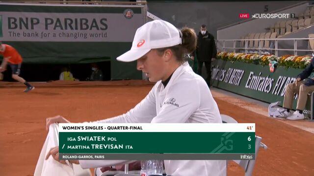 Świątek wygrała 1. seta w starciu z Trevisan w ćwierćfinale Roland Garros