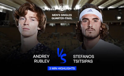 Skrót meczu Rublow - Tsitsipas w ćwierćfinale Roland Garros