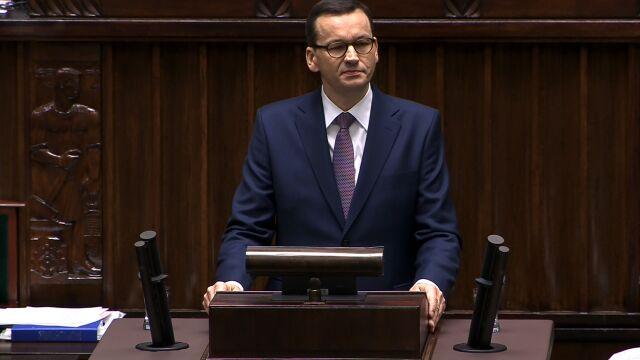 Morawiecki: proszę wysoką izbę o ocenę ostatnich trzech lat