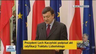 Szef Komisji Europejskiej Jose Manuel Barroso o Traktacie Lizbońskim